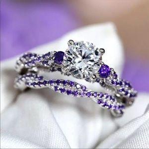 New Romantic Light Purple CZ Stone Women Set Ring
